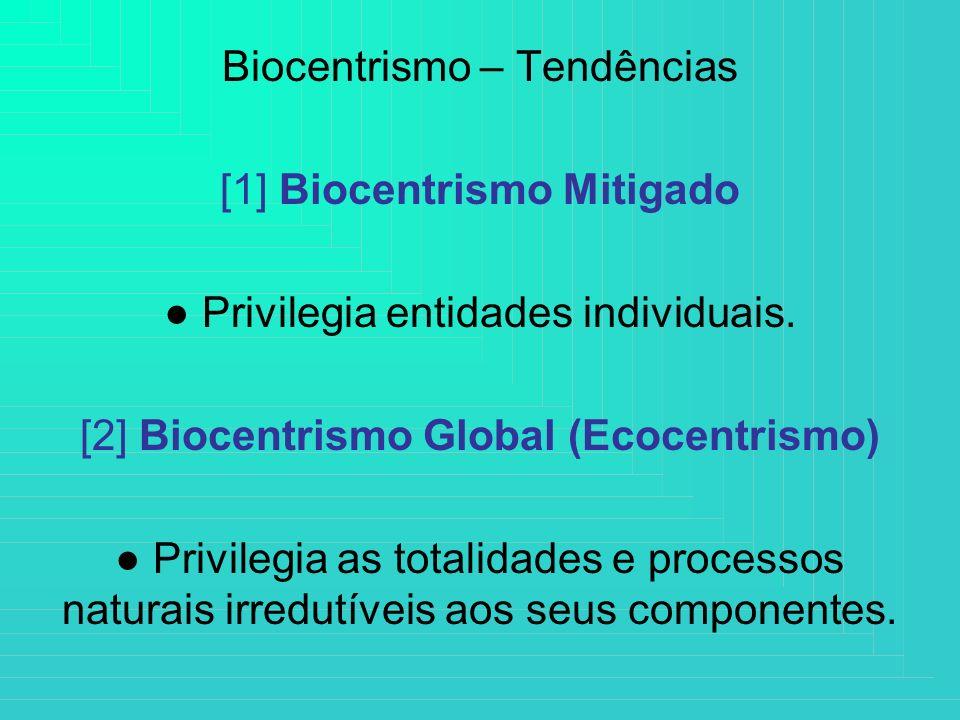 Biocentrismo – Tendências [1] Biocentrismo Mitigado